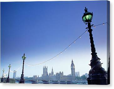 City Of Bridges Canvas Print - England, London, Houses Of Parliament, View From South Bank by Gail Shumway