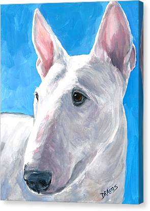 English Bull Terrier On Blue Canvas Print by Dottie Dracos