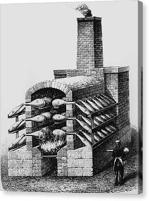 Engraving Of Early Kiln For Making Sulphuric Acid Canvas Print