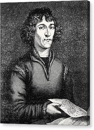 Engraving Of Nicolas Copernicus, Polish Astronomer Canvas Print by Dr Jeremy Burgess