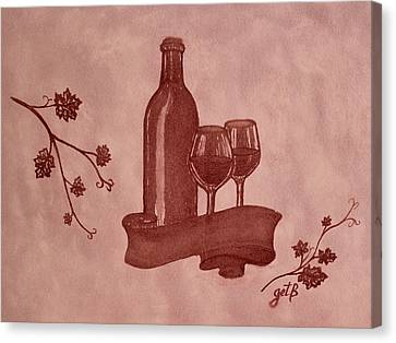 Enjoying Red Wine  Painting With Red Wine Canvas Print by Georgeta  Blanaru