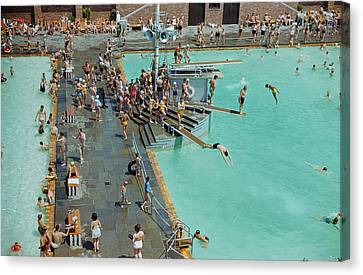Enjoying The Pool At Jones Beach State Canvas Print by B. Anthony Stewart