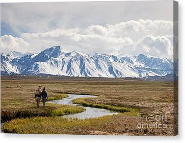 Enjoying The Upper Owens River Canvas Print by Ei Katsumata