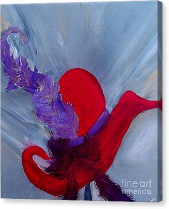 Canvas Print featuring the painting Ensemble Chapeau Rouge by Ayasha Loya