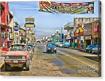 Canvas Print featuring the photograph Ensenada Street Scene by Lawrence Burry