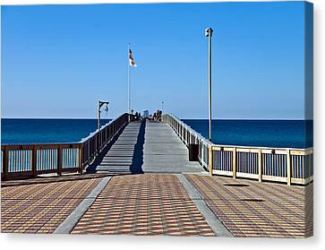 Canvas Print featuring the photograph Entrance To A Fishing Pier by Susan Leggett