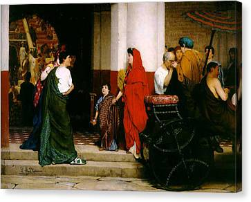 Entrance To A Roman Theatre Canvas Print by Sir Lawrence Alma-Tadema