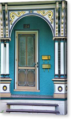 Entrance To Blue-green House Canvas Print by Steven Ainsworth