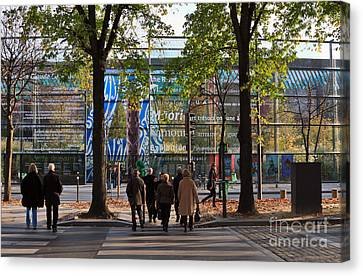 Entrance To Musee Branly In Paris In Autumn Canvas Print by Louise Heusinkveld