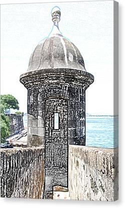 Entrance To Sentry Tower Castillo San Felipe Del Morro Fortress San Juan Puerto Rico Colored Pencil Canvas Print by Shawn O'Brien
