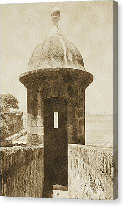 Entrance To Sentry Tower Castillo San Felipe Del Morro Fortress San Juan Puerto Rico Vintage Canvas Print by Shawn O'Brien