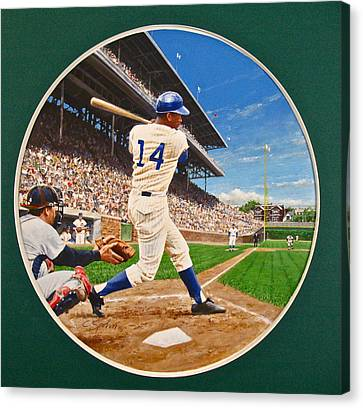 Canvas Print featuring the painting Ernie Banks by Cliff Spohn