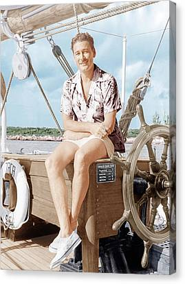 Errol Flynn Relaxing On His Yacht, Ca Canvas Print by Everett