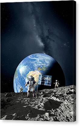Esa Lunar Exploration, Artwork Canvas Print by Detlev Van Ravenswaay