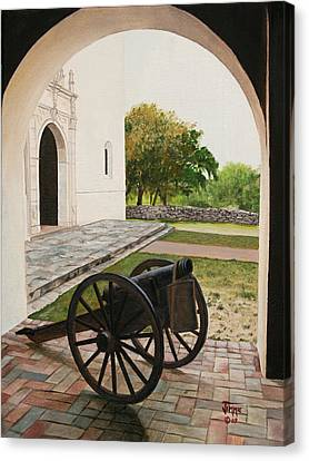 Canvas Print featuring the painting Espiritu Santo Mission Cannon by Jimmie Bartlett