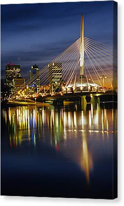 Esplanade Riel Footbridge On Red River Canvas Print by Mike Grandmailson