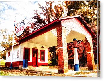 Canvas Print featuring the painting Esso Filling Station by Lynne Jenkins