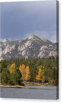 On Line Art Galleries Canvas Print - Estes Park Autumn Lake View Vertical by James BO  Insogna