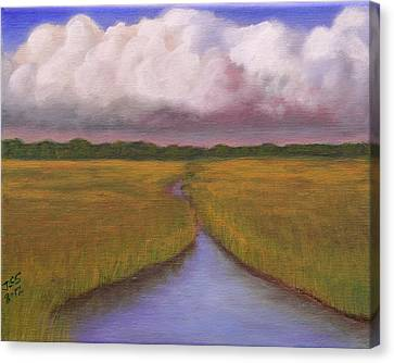 Canvas Print featuring the painting Estuary Storm by Janet Greer Sammons