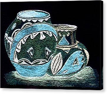 Canvas Print featuring the painting Etched Pottery by Paula Ayers