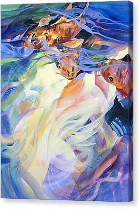 Canvas Print featuring the painting Ethereal Koi 1 by Rae Andrews