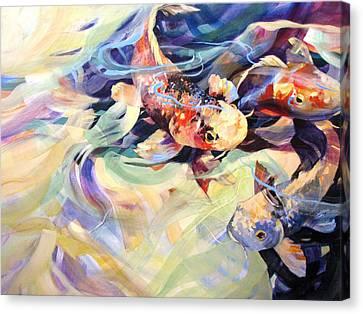 Canvas Print featuring the painting Ethereal Koi 2 by Rae Andrews