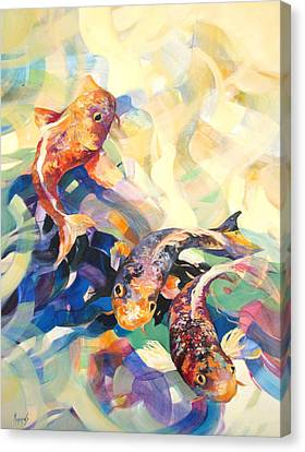 Canvas Print featuring the painting Ethereal Koi 3 by Rae Andrews