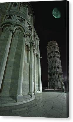Ethereal Moonlight Scene Of Duomo Santa Canvas Print by Carson Ganci