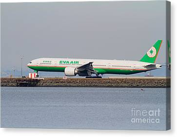 Eva Airways Jet Airplane At San Francisco International Airport Sfo . 7d12260 Canvas Print by Wingsdomain Art and Photography