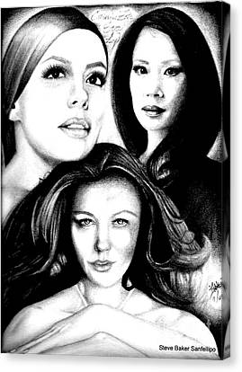 Eva Longoria Lucy Lui And Catherine Zeta Jones Canvas Print by Steve Baker Sanfellipo