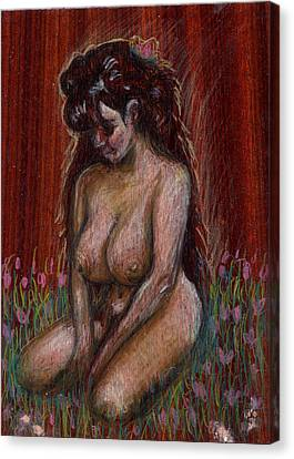 Eve In Her Garden Canvas Print by Mani Price