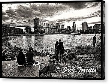 Canvas Print featuring the photograph Evening At Brooklyn Bridge by Jack Torcello