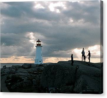 Evening At Peggy's Cove Canvas Print by John G Schickler
