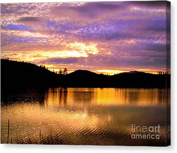 Canvas Print featuring the photograph Evening Lake Britton by Irina Hays