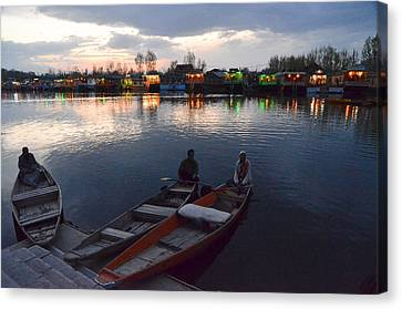Evening On Dal Lake Canvas Print by Fotosas Photography