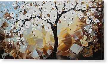Evening Peace White Blossoming Tree Of Life Canvas Print by Christine Krainock