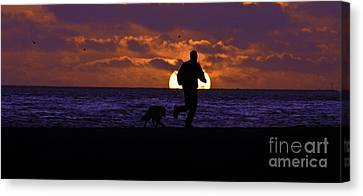Canvas Print featuring the photograph Evening Run On The Beach by Clayton Bruster