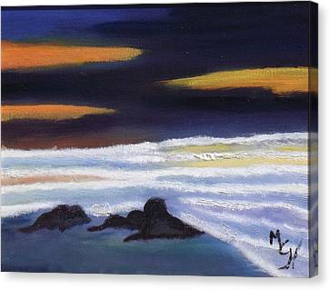 Canvas Print featuring the painting Evening Sunset On Beach by Margaret Harmon