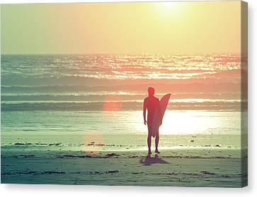 Evening Surfer Canvas Print by Paul McGee