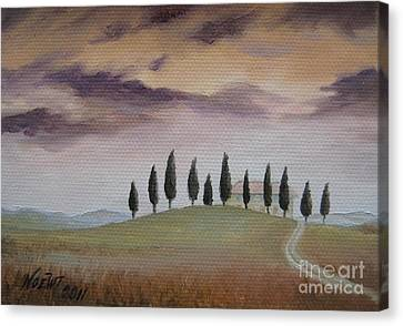Canvas Print featuring the painting Evening Tuscany by Jindra Noewi