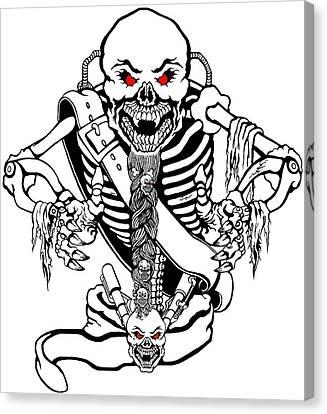 Evil Mechanical Skelleton Canvas Print