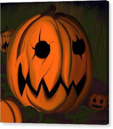 Evil Pumpkin Vine Canvas Print by Andre Carrion