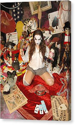 Evil Schoolgril - On Her Knees Canvas Print by Liezel Rubin