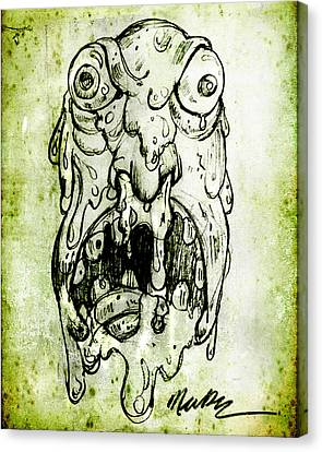 Canvas Print featuring the drawing Evil Snot Monster by Nada Meeks