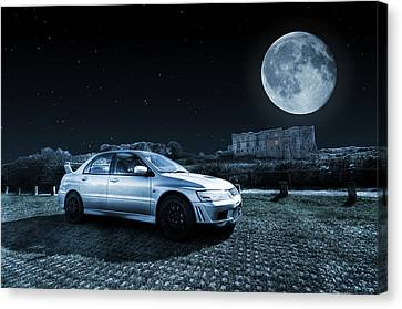 Canvas Print featuring the photograph Evo 7 At Night by Steve Purnell