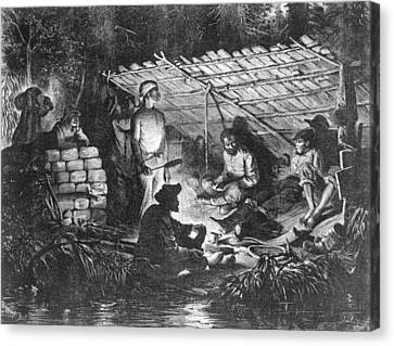 Ex-slaves Hiding In The Swamps Canvas Print by Everett
