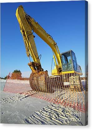 Excavator On The Beach Canvas Print by Skip Nall