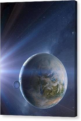 Extrasolar Earth-like Planet, Artwork Canvas Print by Detlev Van Ravenswaay