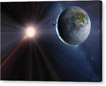 Gliese Canvas Print - Extrasolar Planet Gliese 581c, Artwork by Detlev Van Ravenswaay