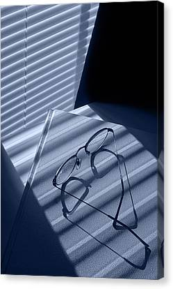 Venetian Blinds Canvas Print - Eye Glasses Book And Venetian Blind In Blue by Randall Nyhof
